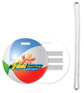 Stock Beach Ball Design Luggage Tag Write-on ID panels 40 mil plastic Full Colour